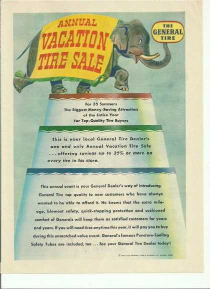 Annual Vacation Tire Sale General Tires (1950)