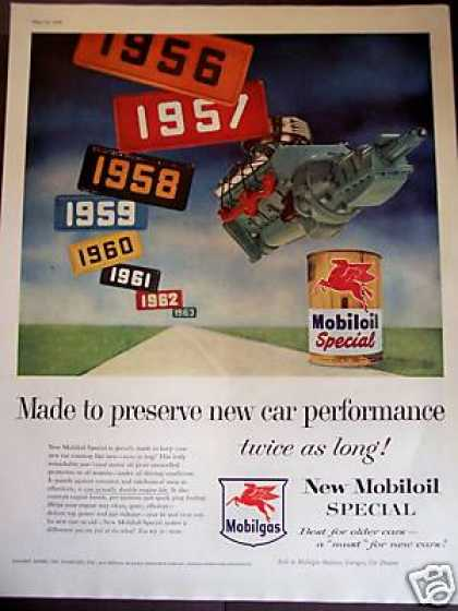 Mobiloil Special Motor Oil License Plate Art (1956)
