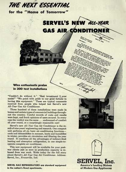 "Servel's All-Year Gas Air Conditioner – The Next Essential for the ""Home of Tomorrow"" : Servel's New All Year Gas Air Conditioner (1944)"