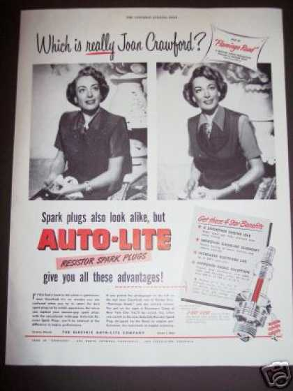Joan Crawford Look Alike Auto-lite Spark Plug (1949)