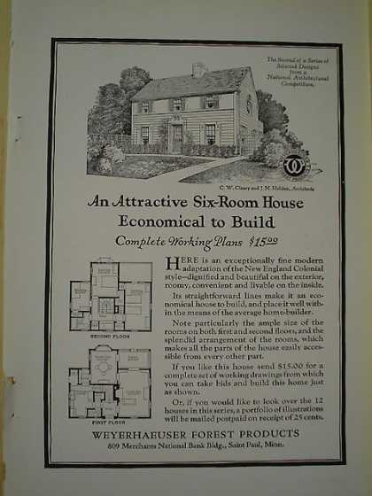 Weyerhaeuser Forest Products Complete home plans $15 (1926)