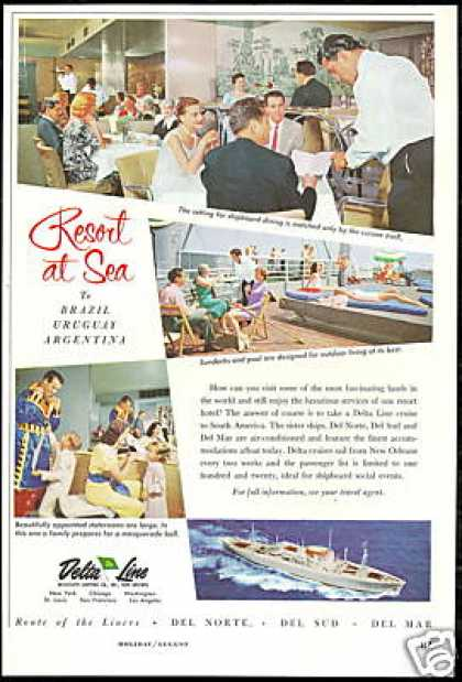 Delta Line Cruise Ship Photo Print Vintage (1958)