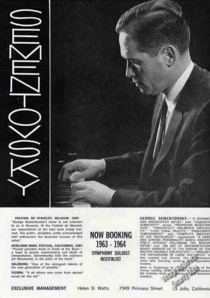 George Sementovsky Photo Pianist Trade (1963)
