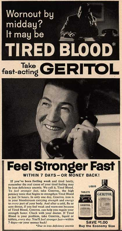 Unknown's Geritol – Wornout by midday? It may be Tired Blood Take fast-acting Geritol (1958)