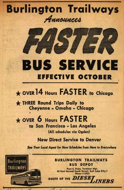 Burlington Trailways – Burlington Trailways Announces Faster Bus Service Effective October (1945)