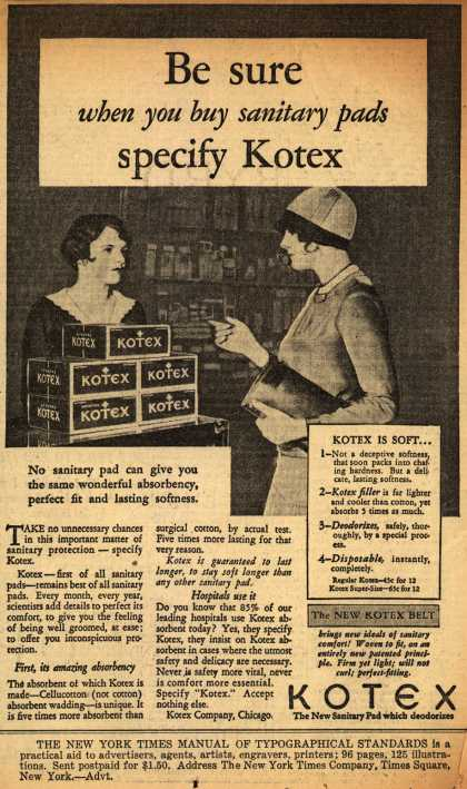 Kotex Company's Sanitary Napkins – Be sure when you buy sanitary pads specify Kotex (1930)