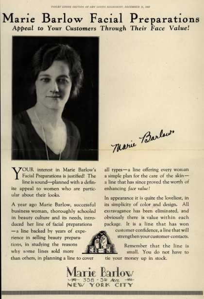 Marie Barlow – Marie Barlow Facial Preparations Appeal to Your Customers Through Their Face Value (1927)