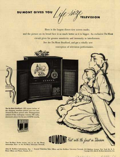 Allen B. DuMont Laboratorie's The DuMont Bradford Television Combination – DuMont Gives You Life-Size Television (1949)