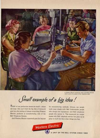 '52 Western Electric Telephone Phone Assembly Line Ad T (1952)
