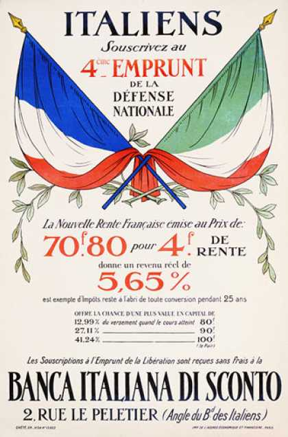 Italiens souscrivez, Defense Nationale, French war poster