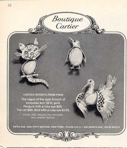 Boutique Cartier Penquin Cat Bird Brooch (1964)