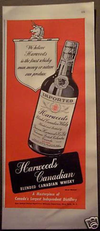 Original Harwood's Canadian Whisky (1948)