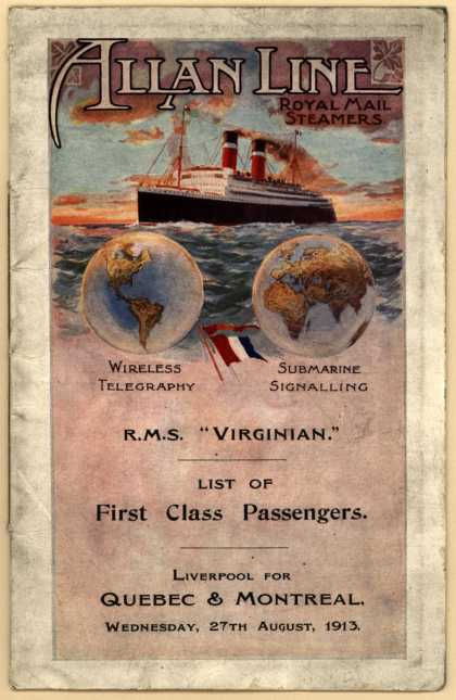 "Allan Line, Royal Mail Steamer's Allan Line – R.M.S. ""Virginian."" List of First Class Passengers. (1913)"