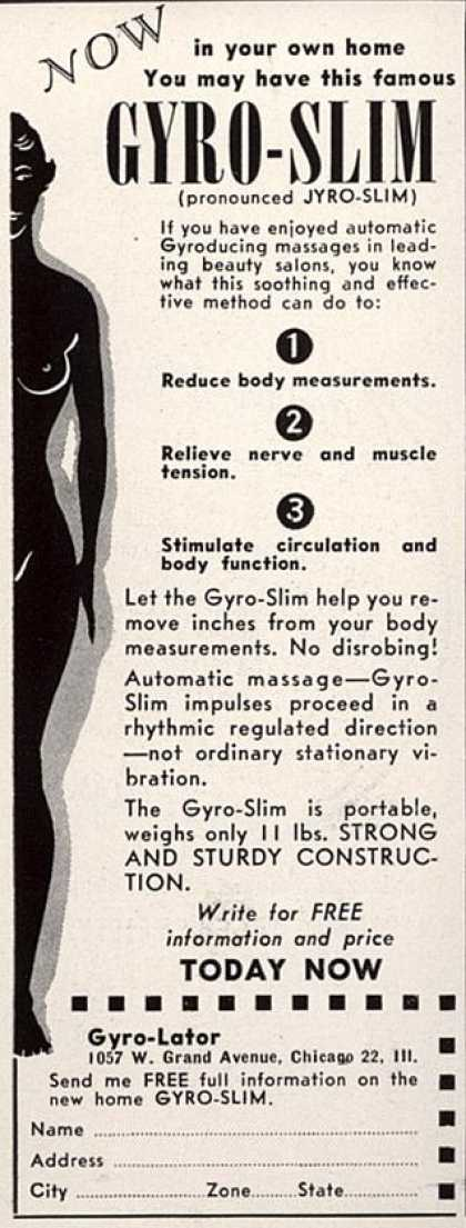 Gyro-Lator's Gyro-Slim – Now In your own home You may have this famous Gyro-Slim (1950)