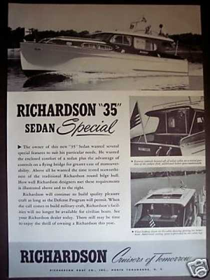Richardson Cruisers 35 Sedan Yacht Boat Photo (1951)