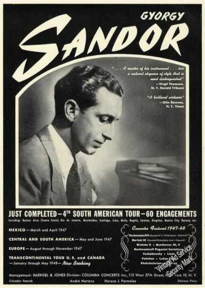 Gyorgy Sandor Photo Piano Trade (1947)