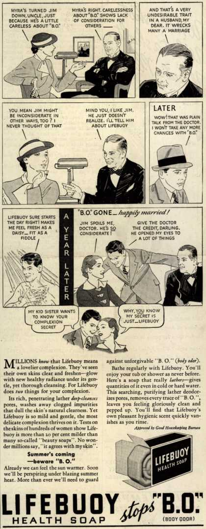 "Lever Brothers Company's Lifebuoy Health Soap – Myra's Turned Jim Down, Uncle, Just Because He's a Little Careless About ""B.O"" (1935)"
