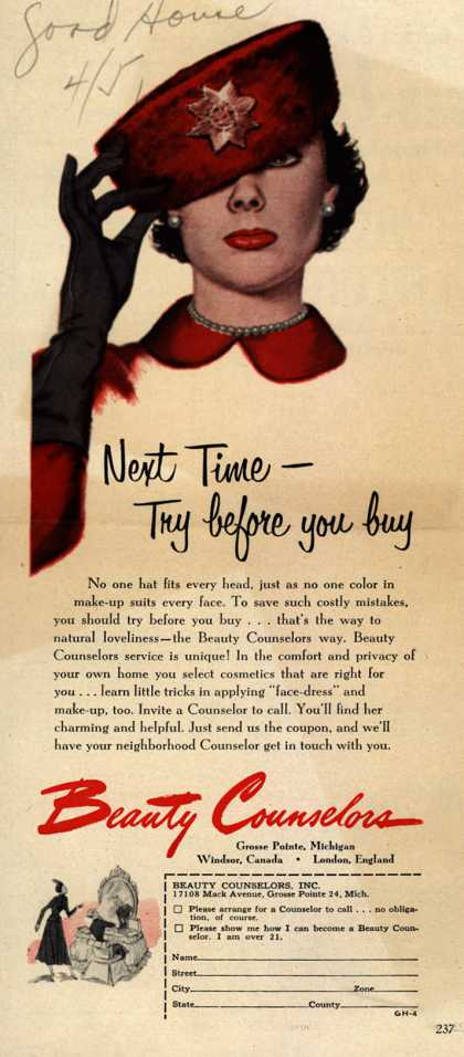 Beauty Counselor's Cosmetics – Next Time-Try before you buy (1951)