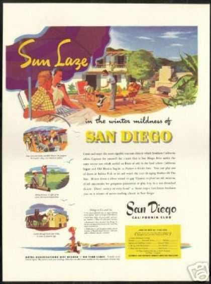 San Diego California Sun Laze Travel (1946)