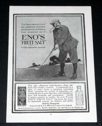 Old , Eno's Fruit Salt, Golfer (1918)
