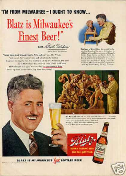 Blatz Beer Ad Dick Wiken (1949)