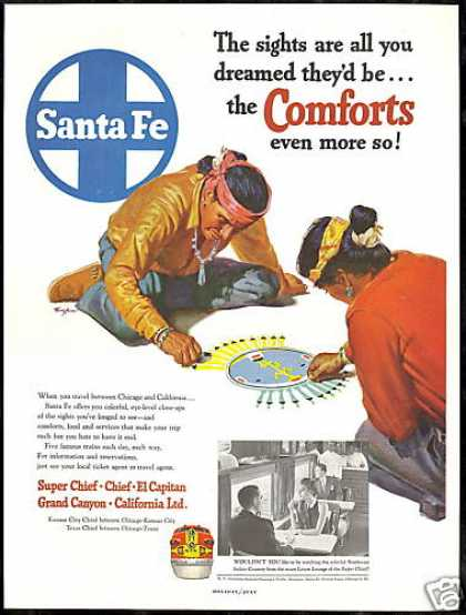 Santa Fe Train Railroad Southwest Indian Art (1952)