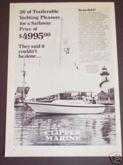 Clipper Marine Mk 26 Boat Sailboat (1972)
