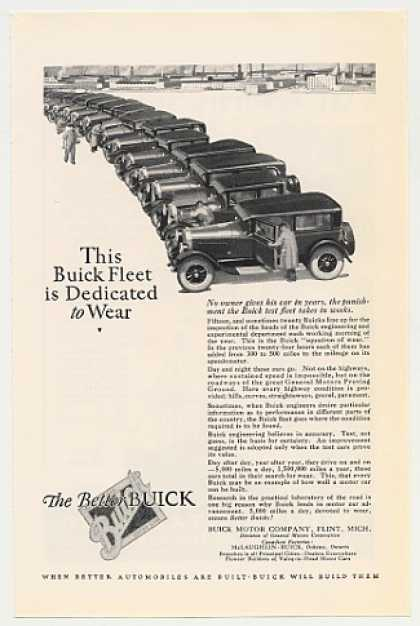 Buick Test Fleet of Cars Dedicated to Wear (1926)