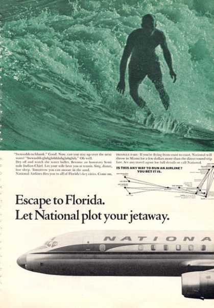 National Ailines Water Surfing Florida Print (1964)