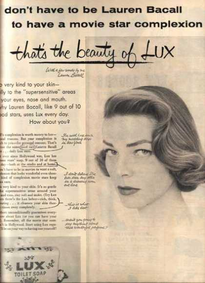 Lux Toilet Soap – Lauren Bacall (1954)