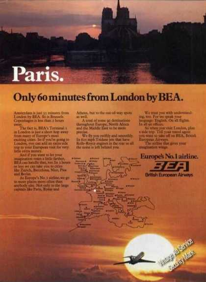 Nice Paris Photo British European Airways (1973)