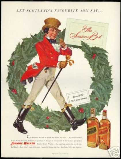 Johnnie Walker Scotch Christmas Wreath (1949)