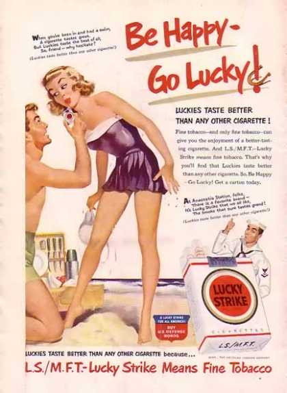 Lucky Strike Cigarette – A smoke after a swim (1949)