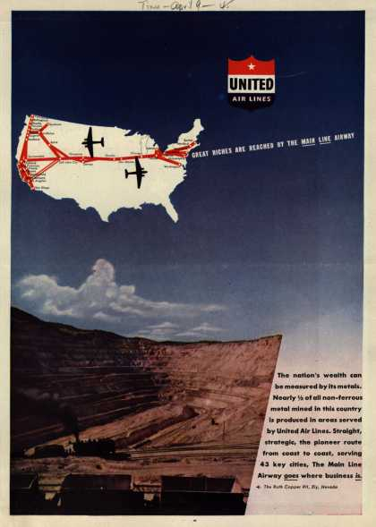 United Air Line's Main Line Airway – GREAT RICHES ARE REACHED BY THE MAIN LINE AIRWAY (1945)
