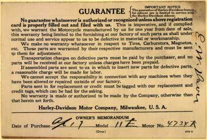 Harley-Davidson Motor Co.'s Harley-Davidson Motorcycle Registration Card – Guarantee