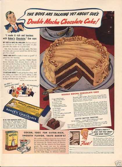 Bakers Baking Chocolate Cake Receip (1939)