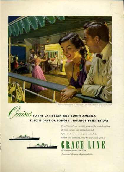 Grace Line Cruise Ship Boat Moonlight Dance (1952)