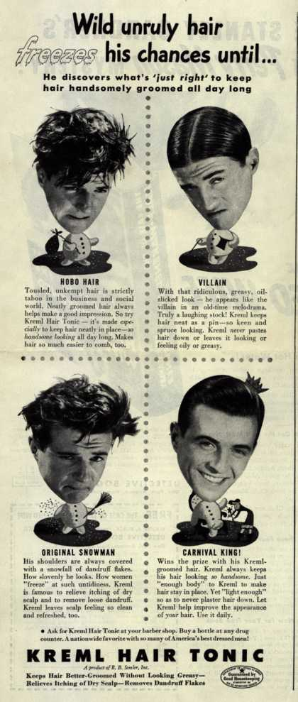 R.B. Semler's hair tonic – Wild unruly hair freezes his chances until... (1946)