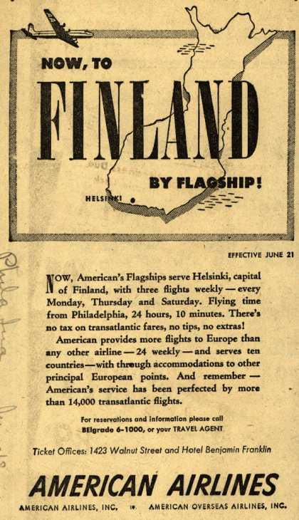 American Airline's Finland – Now, to Finland by Flagship (1947)