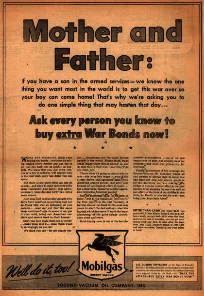 Socony-Vacuum Oil Company [Mobil]'s War Bonds – Mother and Father: (1943)
