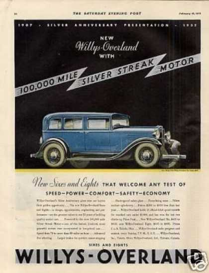 Willys-overland Six Sedan Color Ad Model 6-90 (1932)