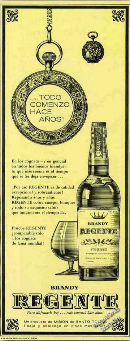 Brandy Regente Hecho En Mexico Ad In Spanish (1966)
