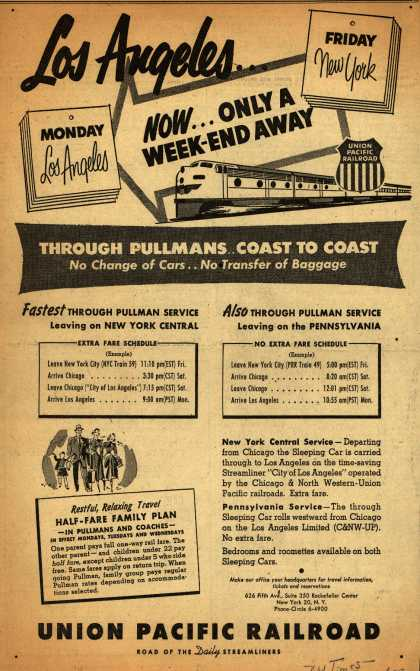 Union Pacific Railroad's Through Pullman Service – Los Angeles...Now...Only a Week-End Away (1953)