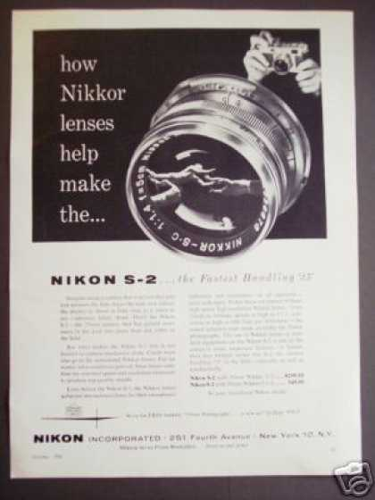 Original Nikkor Lens Nikon S-2 Camera Photo (1956)