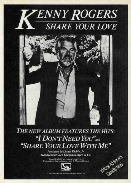 Kenny Rogers Photo Share Your Love Album (1981)