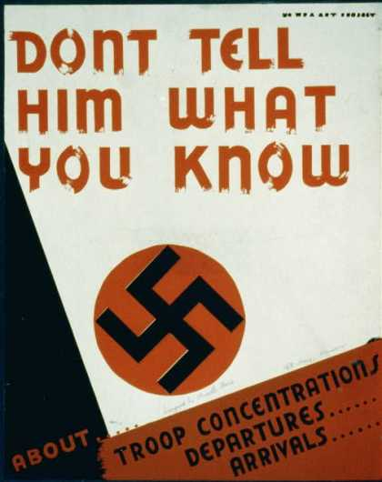 Dont tell him what you know about .... troop concentrations, departures .... arrivals. (1941)