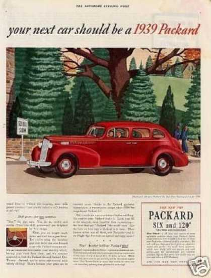 Packard Six 120 Touring Sedan Color Ad 2 Page (1939)