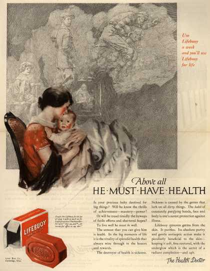 Lever Brothers Company's Lifebuoy Health Soap – Above all He Must Have Health (1924)