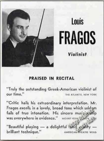 "Louis Fragos Violinist ""Praised In Recital"" (1951)"