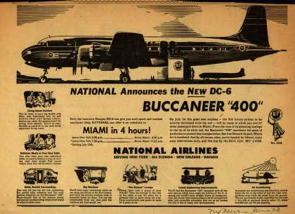 "National Airline's DC-6 Buccaneer ""400"" – NATIONAL Announces the New DC-6 BUCCANEER ""400"" (1947)"